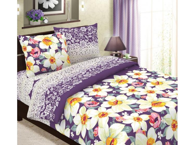 Постельное белье  Чебоксарский Текстиль КПБ Нарциссы вид фиолетовый Бязь