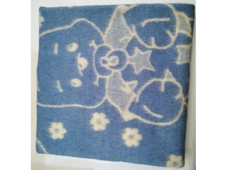 Одеяло шерстяное голубое 85%шерсть, 15%ПЕ
